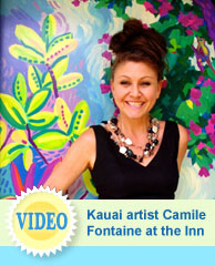 Kauai Artist Camile Fontaine paints at Garden Island Inn, Hawaii hotel, Kauai