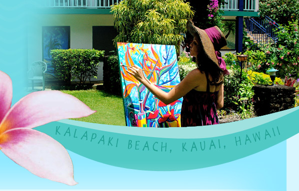 Kauai artist Camile Fontaine paints at The Garden Island Inn