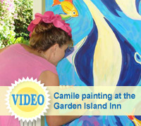 Video of Kauai artist Camile Fontaine - original paintings at The Garden Island Inn