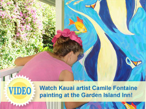 View video of Kauai artist Camile Fontaine's paintings at The Garden Island Inn